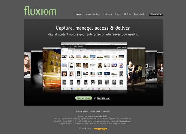 fluxiom startpage screenshot