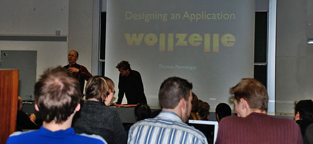 Peter Purgathofer, Thomas Pamminger, at a guest lecture at the TU Wien