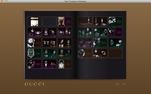 Gucci e-catalogue, index page