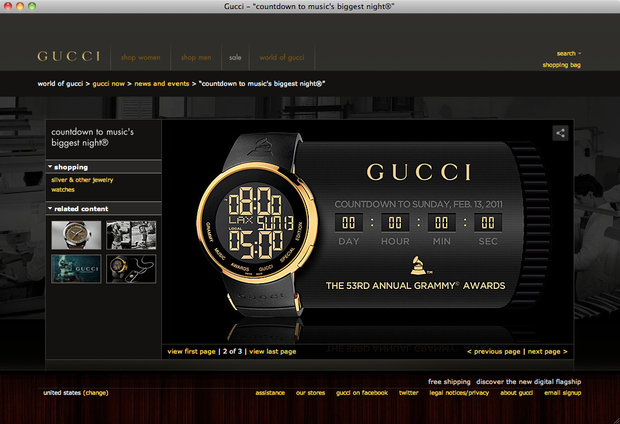 Promotion of the widget on Gucci.com