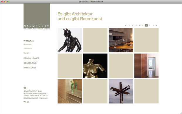 Raumkunst.at website, project overview